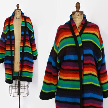 Vintage 80s SWEATER COAT / 1980s Long Rainbow Striped Mohair Maxi Cardigan Jacket by luckyvintageseattle