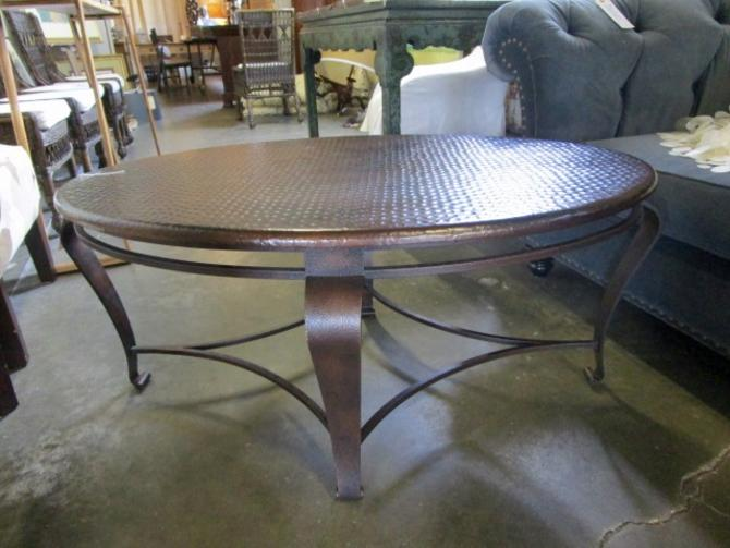 BERNHARDT  OVAL COFFEE TABLE IRON WITH HAMMERED COPPER TOP