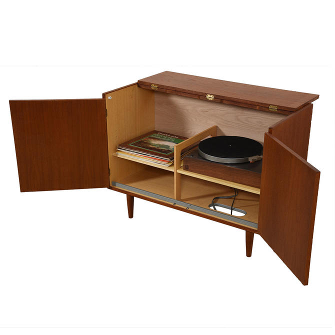 Media / Vinyl / Storage Cabinet with Easy Access in Teak by HG
