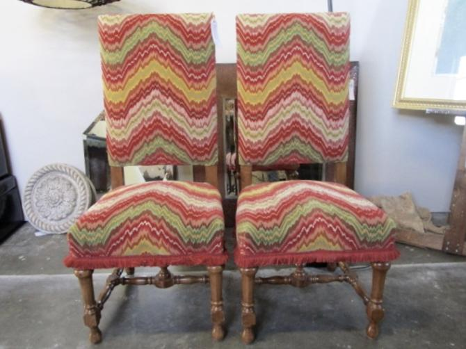 PAIR OF TALL BACK CARVED WOOD SIDE CHAIRS