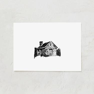 Cabin Sketch   Rustic Cabin Art   Cabin in the Woods   Pencil Drawing   Mid Century Art   Gallery Wall Art   Black and White Cabin Drawing by cedargrey