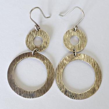 70's Amparo mod sterling open circles swinging hippie dangles, big Taxco Mexico textured 925 silver funky geometric go go dancer earrings by BetseysBeauties
