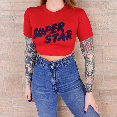 80's Super Star Crop Top Shirt by NoteworthyGarments