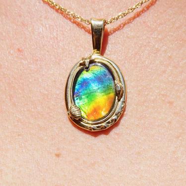 Vintage 14K Gold Ammolite Gemstone Pendant, Iridescent Rainbow Stone In Gold Seashell Setting, Fossilized Shell Pendant, 585 Jewelry by shopGoodsVintage