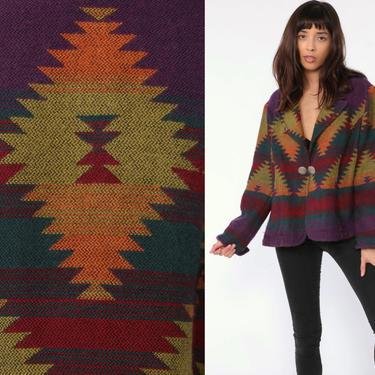 Southwest Blanket Jacket Concho Button Jacket Tribal Jacket Ethnic Print 90s Aztec SOUTHWESTERN Vintage Boho Hippie Rainbow Medium by ShopExile