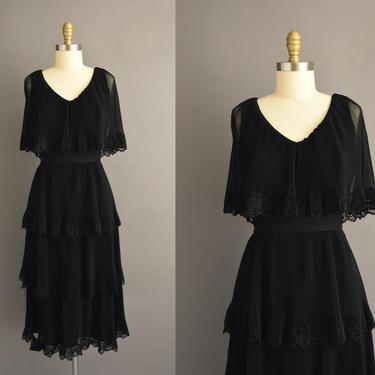 vintage 1970s | Miss Elliette Jet Black Ruffle Chiffon Cocktail Party Dress | Medium | 70s dress by simplicityisbliss