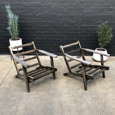 Pair of Vintage Teak Outdoor Patio Lounge Chairs by VintageSupplyLA
