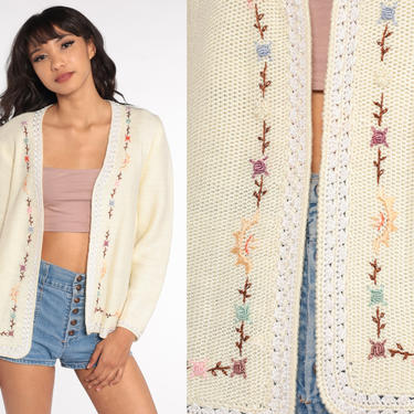Embroidered Cardigan Sweater Cream Floral Sweater 70s Grandma Sweater Boho Open Front 1970s Hippie Vintage Retro Knit Sweater Small Medium by ShopExile