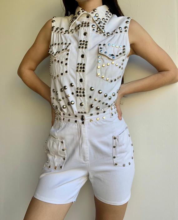 70s Allie Flynn for Evan Roberts White Denim Studded Shorts Set by VintageRosemond