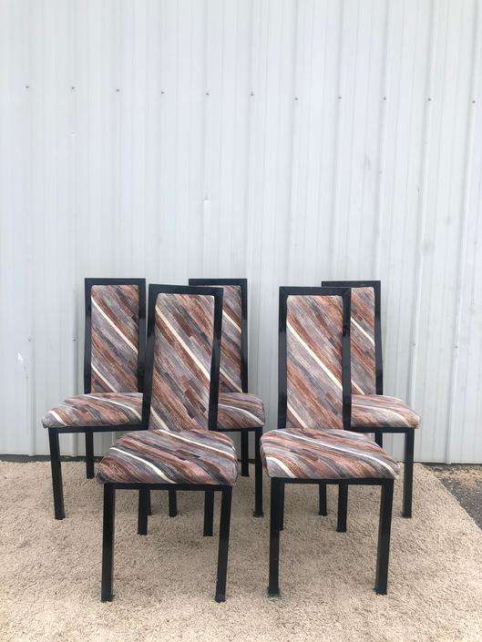 Set of 5 1980s Dining Chairs with Vintage Fabric