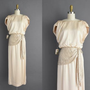 vintage 1970s | Outstanding Ivory Liquid Satin Holiday Cocktail Party Wedding Dress | Small | 70s dress by simplicityisbliss