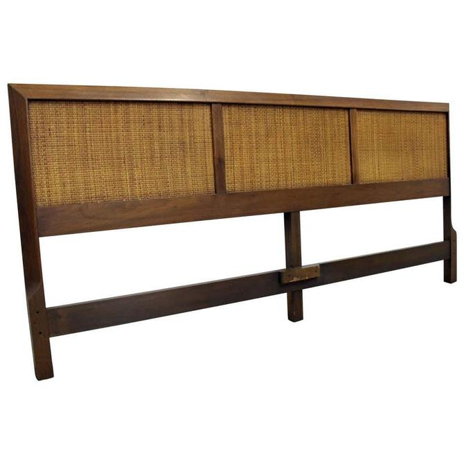 Mid-Century Modern John Stuart Style Walnut Caned King Size Headboard by BigWhaleConsignment