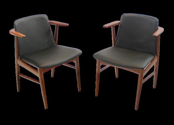 Pair of Rare Scandinavian Modern Armchairs Designed by Hans Olsen