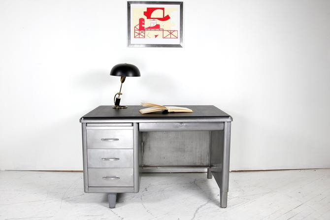 Vintage mcm small metal tanker desk with black top | Free delivery in NYC and Hudson areas by OmasaProjects