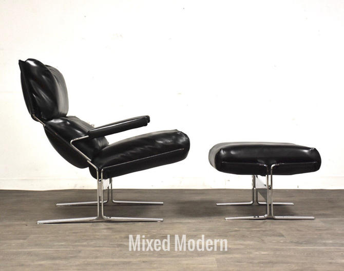 Richard Hersberger for Sapiriti Italian Leather and Chrome Lounge Chair and Ottoman by mixedmodern1
