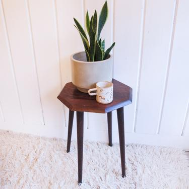 Vintage Solid Wood Midcentury Modern Style Hexagon Accent Table by PortlandRevibe