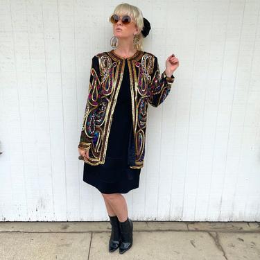 Vintage Oversized Sequin Jacket Long Dramatic Coat Festival Fashion Evening Wear by LoveItShop