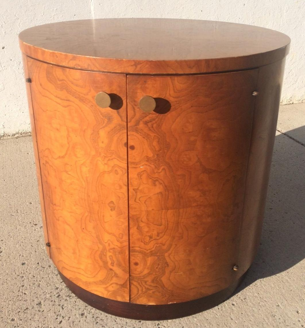 Mid Century Modern Burl Wood Drum Round Side Table Cabinet