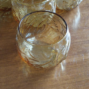 VINTAGE Anchor Hocking Roly Poly/  Mid Century Modern Amber Crinkle Glass Roly Poly Drinking Glasses// Retro Barware// Set of 6 by 3GirlsAntiques