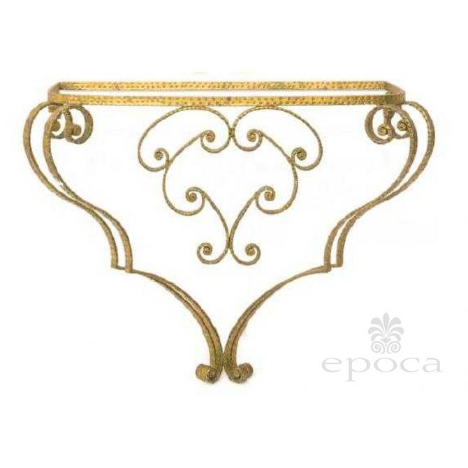 a chic italian 1940's art moderne gilt-iron wall-mounted console table with glass top; by Pier Luigi Colli (1895-1968)