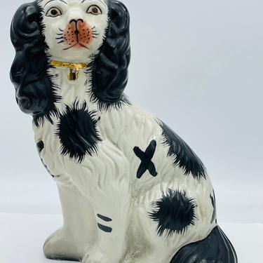 "Black & white Antique Staffordshire King Charles Spaniel Dog Figurine - Mantel Dog 10"" by JoAnntiques"