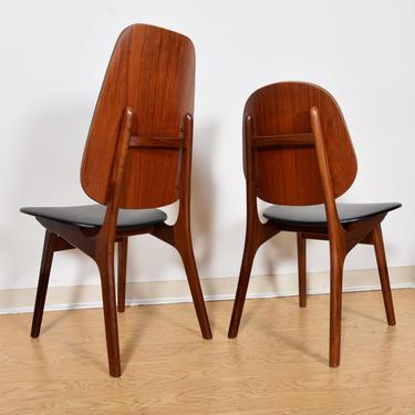 Arne Hovmand Olsen Stunning Set of 8 (2 Tall + 6 Side) Danish Teak Dining Chairs