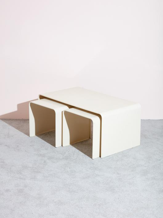 Beige Waterfall Coffee Table and Side Tables