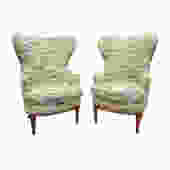 Pair Of Stylish Wing Back Chairs In The Style Of Paolo Buffa 1950s