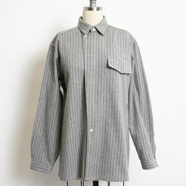 1980s Wool Shirt Designer Italian Button Up Striped Medium by dejavintageboutique
