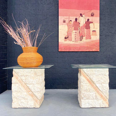 Tessellated Stone and Glass Top Side Tables
