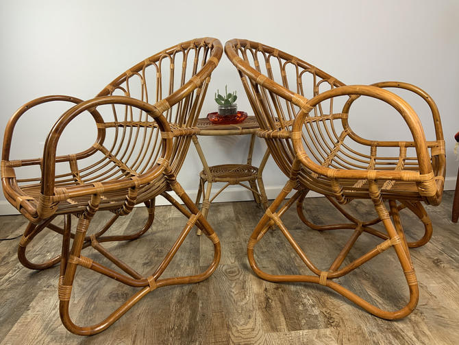 Vintage Mid Century Franco Albini Style Bent Rattan and Bamboo Chairs by DesertCactusVintage
