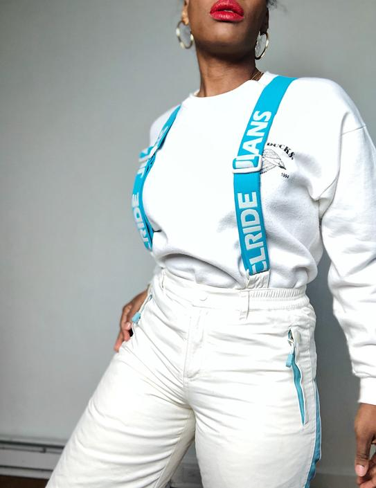 Vintage 1990s 90s 2000s 00s Y2K Snow Ski Suit Adjustable Overalls Convertible Snow Board Pants Removable Suspenders While Blue CLRide by KeepersVintage