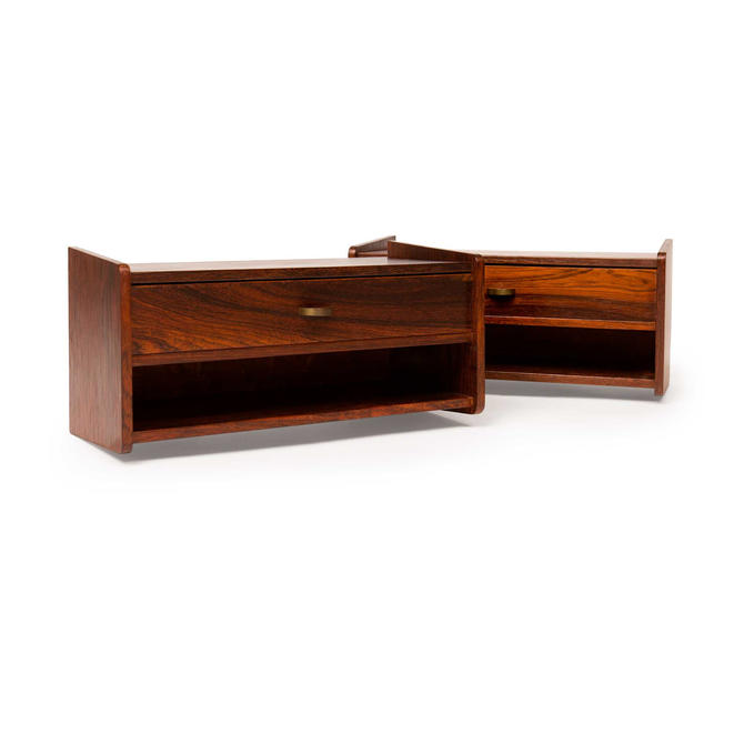 Pair of Vintage Danish Mid-Century Floating Rosewood Nighstands w/Brass Pull by MCMSanFrancisco