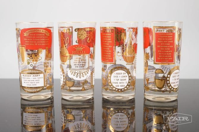 Set of 4 Hi Ball Cocktail Glasses with Recipes