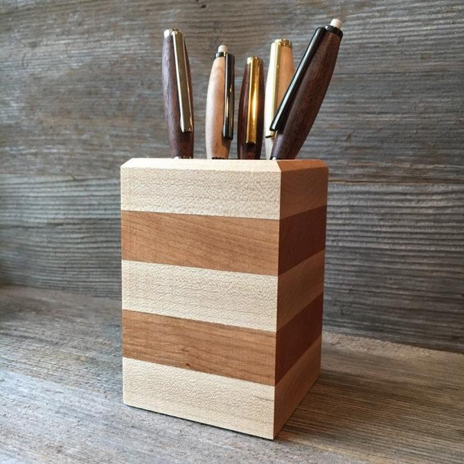 Pencil Holder - Maple and Cherry by TheNimbleBarber