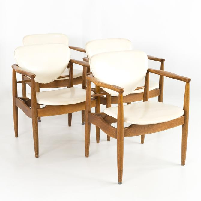 Finn Juhl Style Mid Century Walnut Captains Occasional Dining Desk Chairs - Set of 4 - mcm by ModernHill
