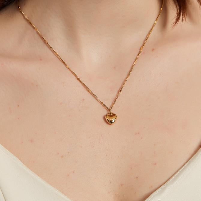 stephaine Dainty gold Puffed Heart Pendant Necklace, gold heart necklace, Simple Heart Charm Necklace, gold heart pendant necklace, gift by melangeblancdesigns