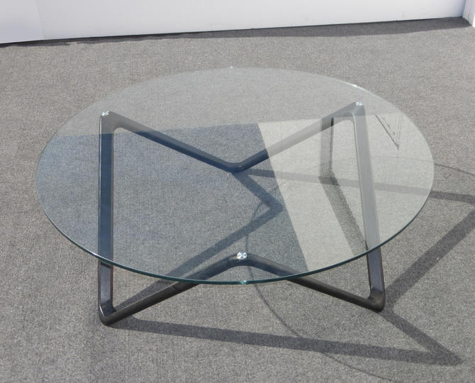 Unique Vintage Contemporary Style Coffee Table Black Wood Frame Glass Top by VintageLAfurniture