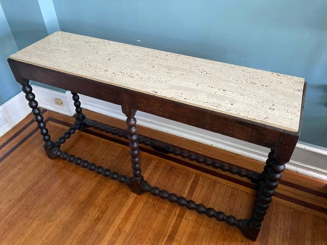 Antique Walnut Ball Turned Wood Hall Table SHIPPING NOT FREE by RavenPearVintage