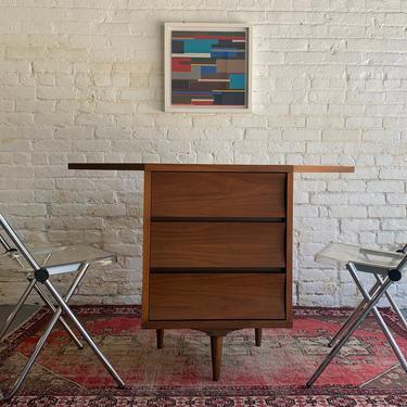 Mid Century MODERN Concave WALNUT CORNER Cabinet / Dresser by Johnson Carper by CIRCA60