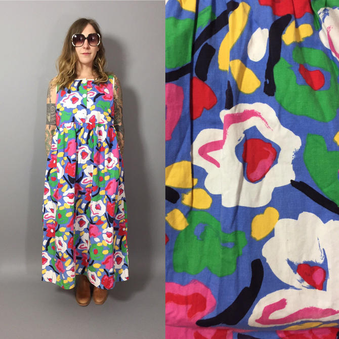 2975db726dc Vintage Maxi Dress  1970s House Dress   Colorful Maxi Dress   Pop ...