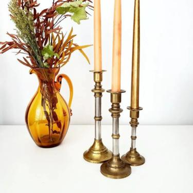 Vintage Mixed Metal Graduated Height Candlestick Holder Set by pennyportland