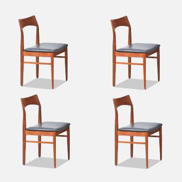Henning Kjærnulf Teak & Leather Dining Chairs for Vejle Møbler