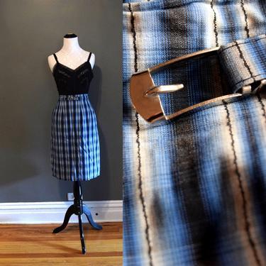Vintage 50s Skirt | Blue Skirt | Plaid Skirt | Pencil Skirt | Wiggle Skirt | XSmall Skirt XS | Size 0 Skirt | Mid Century Skirt | Pin Up by aphroditesvintage