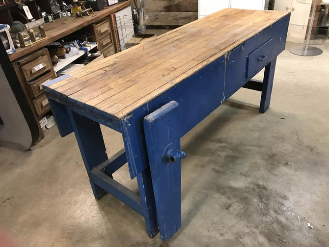 Workbench with oak top and blue base