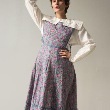 1970s Phool Indian Cotton Quilted Pinafore Dress by waywardcollection