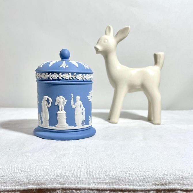 Vintage Wedgwood Pale Blue Jasperware Covered, Lidded Jar, Cigarette Jar - Neoclassical Women n Trees, Mid Century, Collectible by VenerablePastiche