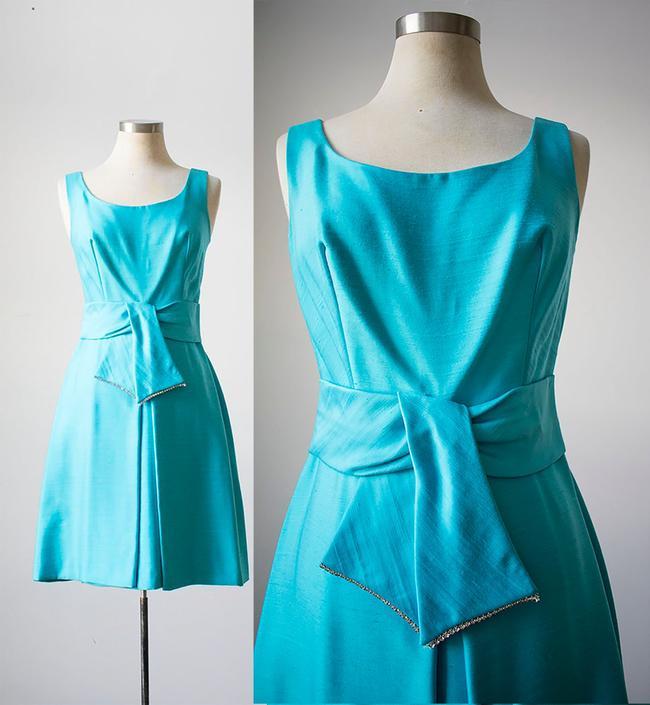 Vintage 1960s Cocktail Dress / Aqua Blue Cocktail Dress / 1960s Party Dress / Blue Mad Men Dress by milkandice