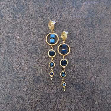 Long brass geometric earrings, brutalist earrings, mid century modern earrings bold statement, blue hematite, African Afrocentric earrings by Afrocasian