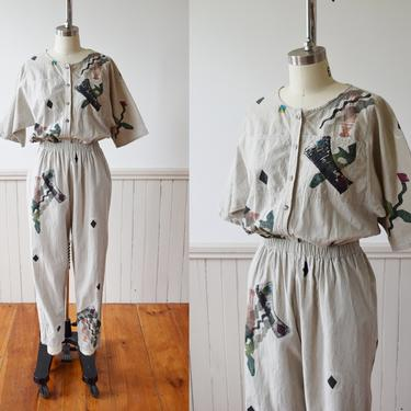 Hand Painted Play + Jump Suit by Alegre   Vintage 1980s/90s Cotton Jumpsuit with Painted Design   S/M by wemcgee
